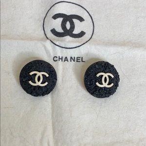 CHANEL Black Textured Earrings w/ Ivory Double Cs